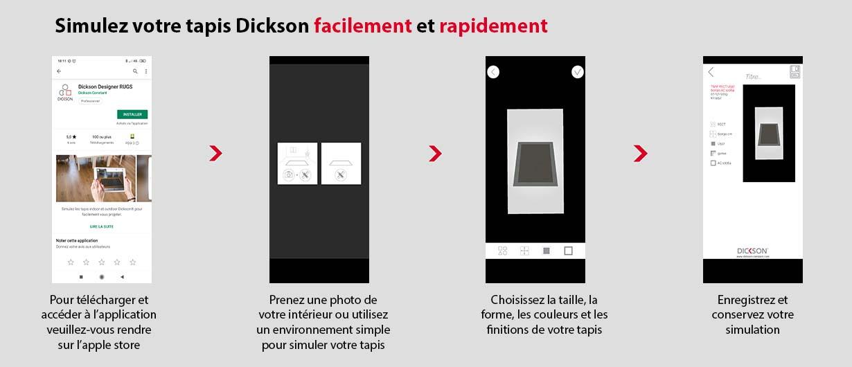 Etapes pour télécharger et utiliser l'application Dickson rugs