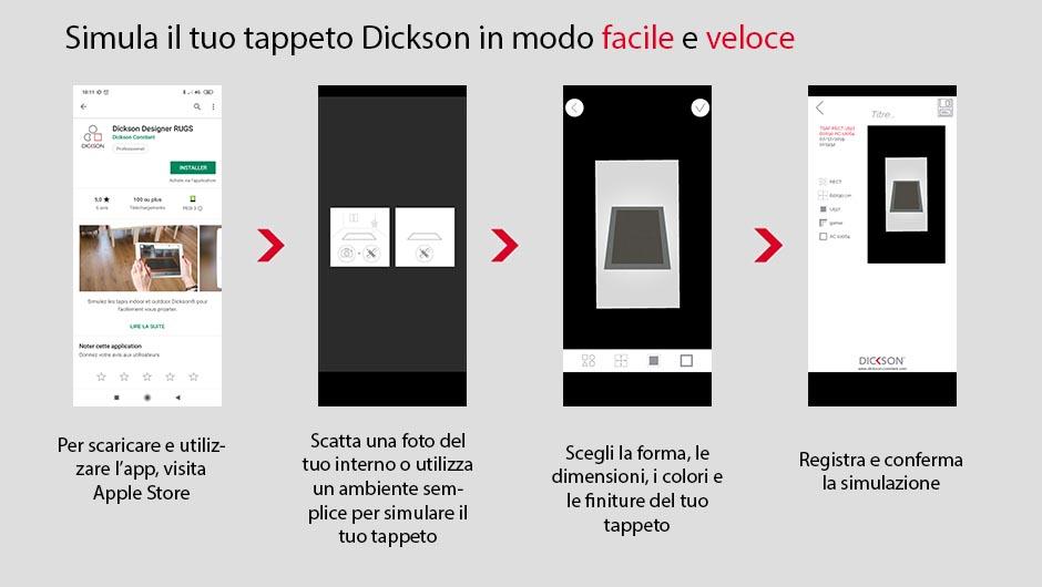 Tutte le operazioni per scaricare e utilizzare l'app Dickson Rugs