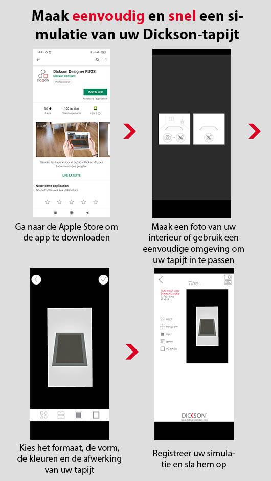 Alle stappen om de app Dickson Rugs te downloaden en te gebruiken