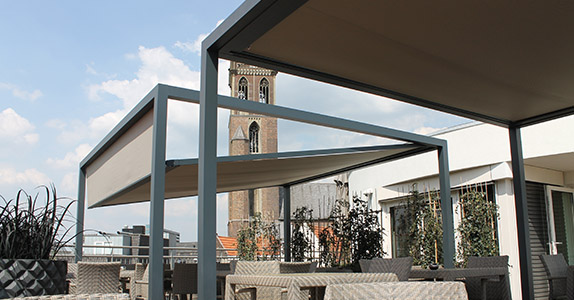 Dickson tensioned fabrics are ideal for restaurant terraces