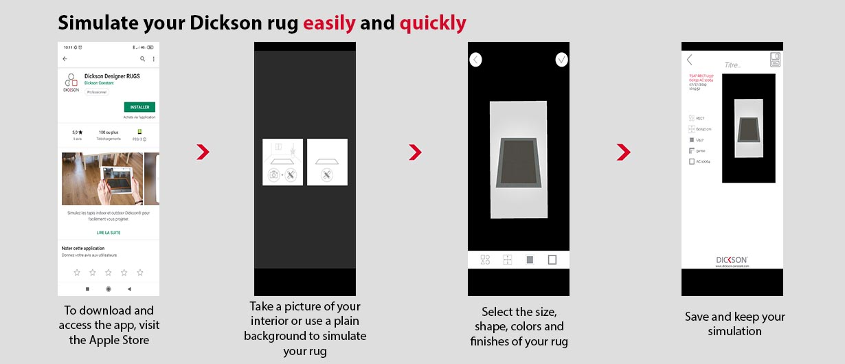 Steps to download and use the Dickson Rugs app