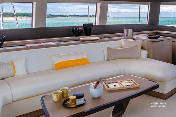 Marine seat and cushion fabric