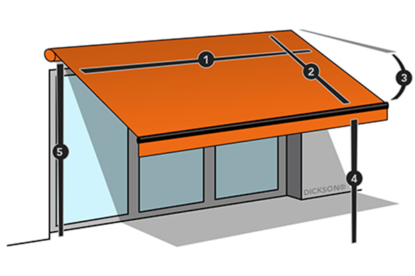 Folding-arm awning dimensions
